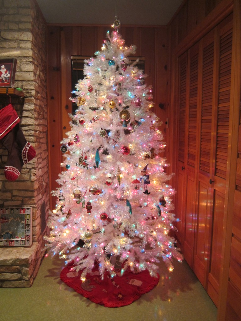 White Christmas Tree With Multicolor Lights